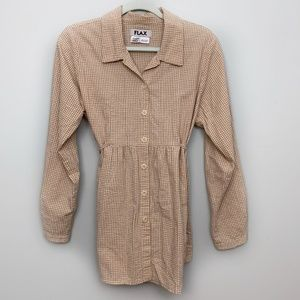FLAX Gingham Plaid Tie Back Button Down Blouse S